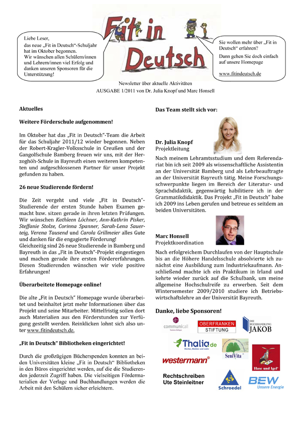 Fit in Deutsch - Newsletter Ausgabe 1