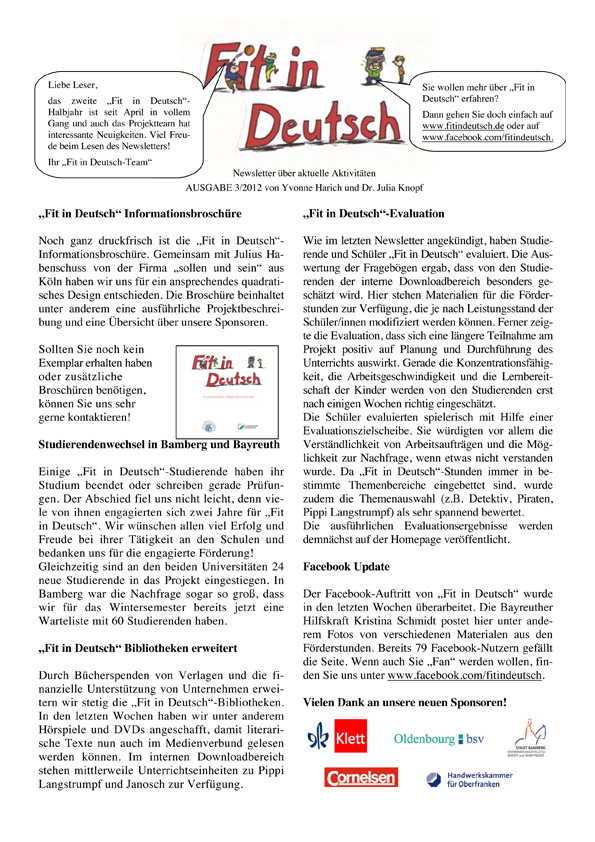 Fit in Deutsch - Newsletter Ausgabe 3