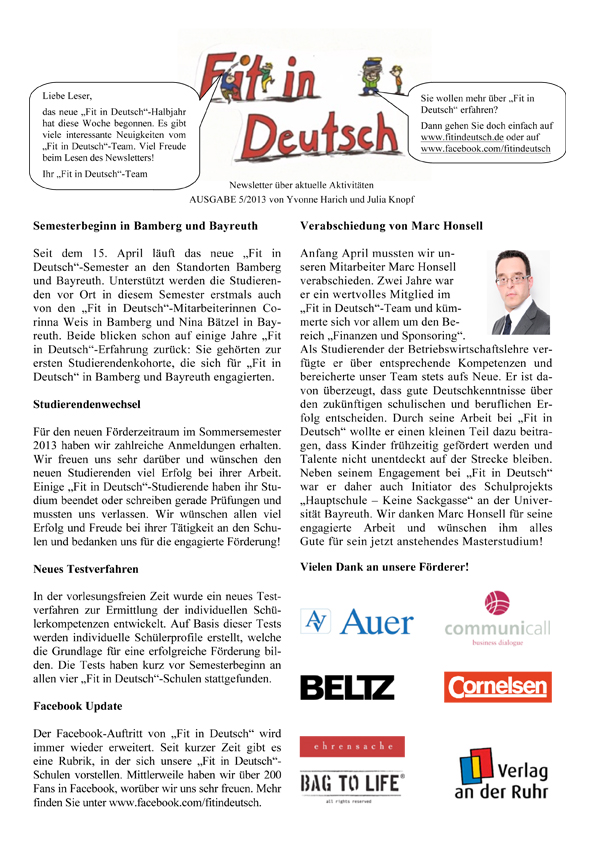Fit in Deutsch - Newsletter Ausgabe 5
